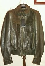 Dsquared2 Dark Olive Leather Jacket Model S74AM0427 Size Small -