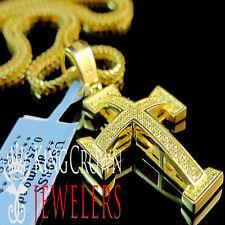 Charm 10K Yellow Gold Finish +Chain Real Canary Diamond Mini Jesus Cross Pendant