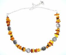 MIXED AMBER & TIBETAN SILVER CELTIC BEAD NECKLACE