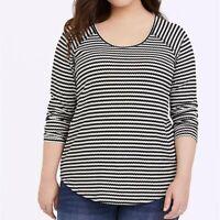 Torrid 1/2/5X Top Striped Black/White Waffle Knit Plus Size Long Sleeve Raglan