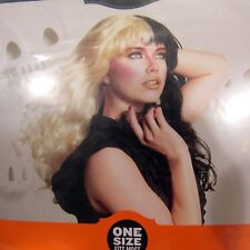 Two Color Wig Costume Cosplay Half Blonde Half Black Wavy One Size