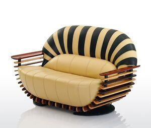 "77"" W Sofa beige black italian leather waxed exotic wood frame unique design"