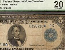 STAR 1914 $5 DOLLAR LARGE FEDERAL RESERVE NOTE OLD PAPER MONEY Fr 859a* PMG 20