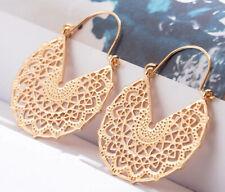 Gold Hoop Filigree Disc Circle Earrings Tribal Ethnic Large Hoop Flower Women
