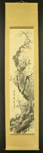 """JAPANESE HANGING SCROLL ART Painting """"Plum blossoms"""" Asian antique  #E6279"""