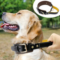 Heavy Duty Genuine Leather Dog Collar & Quick Control Handle for German Shepherd
