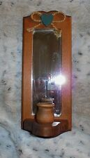 "Country pine wood taper candle holder wall sconce with mirror, 4 1/2"" x 11 1/2"""