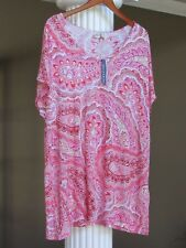 ARTISAN NY Poppy Pink Multi Paisley Print V-Neck Tunic Top Size 2X NWT