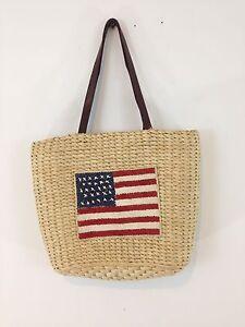 American USA Flag Woven Sisal Jute Denim Lined Satchel Handbag Purse Tote Bag
