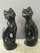 2 Vintage Mcm Black Cat Ceramic Statue Figurine Mid Century Modern