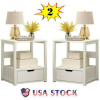 Set of 2 Wood Night Stand Bedroom Bedside End Table Sofa Chair Side Table Drawer