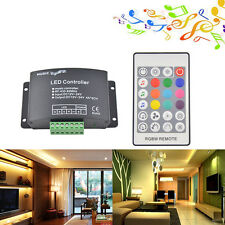 RGBW Led Music Controller 4CH with RF 24 Key Remote Audio Controller DC12-24V