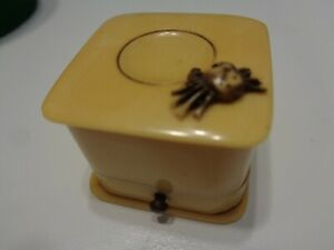RARE ANTIQUE ART DECO CELLULOID RING PRESENTATION BOX with a CRAB ON TOP