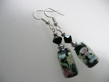 Vintage Art Deco Style Floral Murano Glass, Czech Crystal Not So Long Earrings