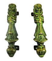Welcome Pair Shape Vintage Antique Finish Handmade Brass Door Pulls Handles Knob