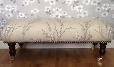 A Quality Long Footstool In Laura Ashley Pussy Willow Natural Fabric