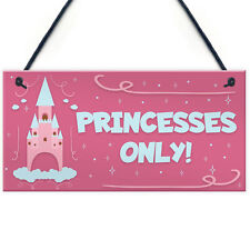 Princesses Only Plaque Door Nursery Bedroom Sign Baby Girl Fairytale Decor Gifts
