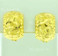 18k solid yellow gold hoop earring earrings diamond cut huggie 4.90 grams #7196