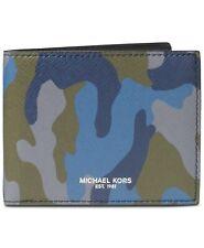 ce833469bd05 $290 MICHAEL KORS Men BLUE CAMO 8CC BILLFOLD BIFOLD ID CARD RFID BLOCKING  WALLET