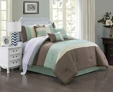 Luxury Quilted Patchwork Comforter 7 Piece Set Bed In A Bag,King Size, Green