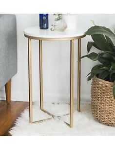 Glam Round Side Table Gold Finish Frame Faux Marble Wooden Top End Sofa Stand