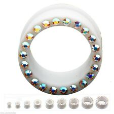 """PAIR-Flexi White w/Aura Gems Double Flare Silicone Tunnels 14mm/9/16"""" Gauge Body"""