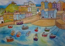 Tenby, Naive  Original Watercolour  painting size A3 By Casimira Mostyn