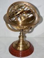 "Vintage nautical 11.5"" brass armillary sphere globe engraved tabletop decor gift"