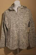 NEW Womens Hooded Jacket Plus Size 1X Gray Knit Sweater Pockets Hoodie Full Zip