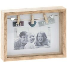 'Our Family' 3D Deep Box Peg Natural Wood Photo Picture Frame