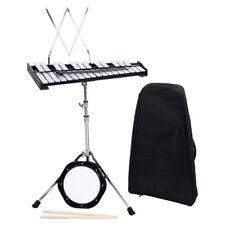 Percussion Glockenspiel Bell Kit 30 Note Practice Pad Mallet Drum Stick Stand