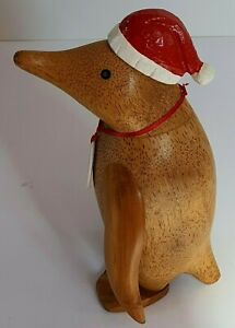 DCUK, The Duck Company - Natural Wood Hand Carved Finish Painted Penguin-Philip