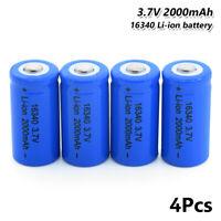 4Pcs Rechargeable 16340 Li-ion Battery 3.7V 2000mAh For Flashlight Headlamp 3FA