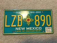 New Mexico Centennial License Plate. NM Turquoise plate. LZB 890