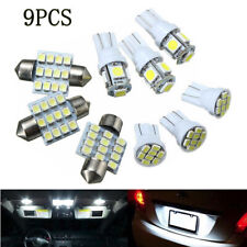 9pcs Car T10 LED White Light Interior Bulbs Package Kit for  Dome Lamp Universal