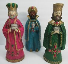 "Vintage 1960's 3 Three Kings Wise Men Nativity 11"" Jeweled Color Japan Christmas"