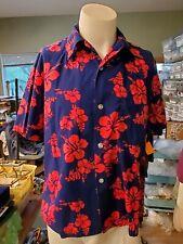 New listing  Vtg 60's Ui Maikai Made Hawaii Bold Red & Blue Floral Short Sleeve Shirt Large L