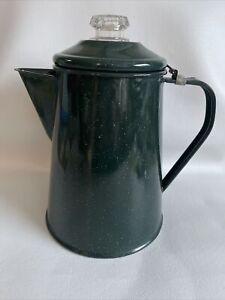 "Percolating Coffee Pot Green Enamel 9"" Tall Camping Travel or Decorative 32oz"