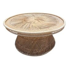Vintage Woven Rattan Wicker Coffee Cocktail Table 36 Inch Round Boho Palm Beach