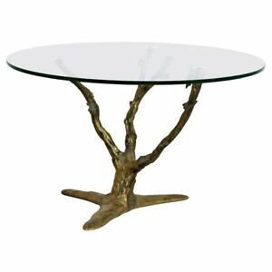 Modern Art Deco Cast Bronze Tree Limb Side End Table Brasseuer Attr.