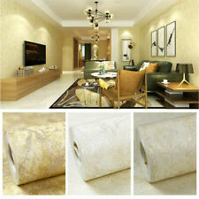 10M Simple Vintage Shiny Gold Embossed Flock Textured Non-woven Wallpaper Roll