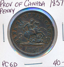 PROVINCE OF CANADA PENNY BANK TOKEN 1857 PC6D