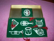 6 Pc Vintage Lenox Musical Ornament Set Plus 1 Lenox Carroler Ornament