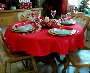 """59"""" (150cm) ROUND RED CHRISTMAS TABLECLOTH 4 SEATER / EVERYDAY DINING"""