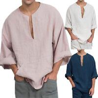 Men's Long Sleeve Linen Shirt Loose Summer Casual V-Neck Shirts Tops M-3XL Tee