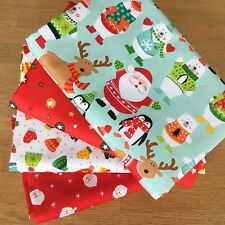 NOVELTY CHRISTMAS Fat Quarter Bundle B Makower Fabrics Santa Penguin Children