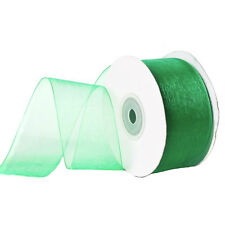 "1/4"" Plain Sheer Organza Nylon Ribbon 25 Yards - Emerald Green"