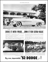 1952 Dodge coronet diplomat car home test drivers vintage photo Print Ad adL33