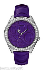 NEW GUESS PURPLE PATENT LEATHER STRAP+3-D LOGO DIAL WATCH+CRYSTALS-W85098L3
