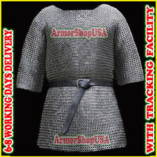Chainmail Shirt Flat Riveted with Flat Washer Armor Chain Mail Hauberk XXL Size~
